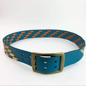 Bebe Solid Brass Weave Buckle Belt
